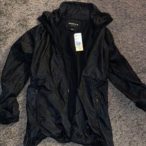 black windbreaker jacket with pockets